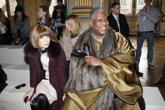 Anna Wintour and Andre Leon Talley attend the Stella McCartney Ready-To-Wear Fall/Winter 2012 show as part of Paris Fashion Week on March 5, 2012 in Paris, France.