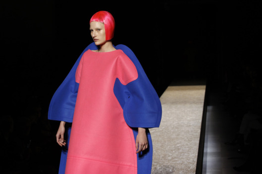 A model presents a creation by Comme des Garcons during the Fall/Winter 2012-2013 ready-to-wear collection show, on March 3, 2012 in Paris.