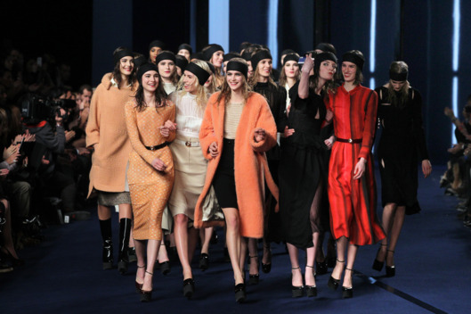Models present creations by French designer Nathalie Rykiel for Sonia Rykiel during the Fall/Winter 2012-2013 ready-to-wear collection show, on March 2, 2012 in Paris.