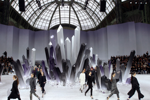 Models present creations by Chanel fashion designer Germany's Karl Lagerfeld during the Fall/Winter 2012-2013 ready-to-wear collection show, on March 6, 2012 at the Grand Palais in Paris. AFP PHOTO/ALEXANDER KLEIN (Photo credit should read ALEXANDER KLEIN/AFP/Getty Images)