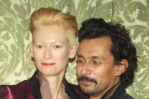 MADRID, SPAIN - NOVEMBER 17:  Actress Tilda Swinton and designer Haider Ackermann attend Marie Claire Prix de la Moda awards 2011 at French Embassy on November 17, 2011 in Madrid, Spain.  (Photo by Carlos Alvarez/Getty Images)