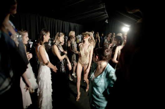 Models prepare backstage before a fashion show by Israeli designer Yossef during the Tel Aviv Fashion Week on November 21, 2011 in Tel Aviv, Israel.
