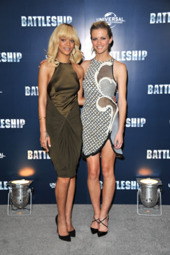 LONDON, UNITED KINGDOM - MARCH 28: Rihanna (L) and Brooklyn Decker promotes the film Battleship at Corinthia Hotel London on March 28, 2012 in London, England. (Photo by Jon Furniss/WireImage)