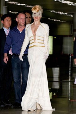Lady Gaga arrives at Gimpo International Airport on April 20, 2012 in Seoul, South Korea. Lady Gaga is perfoming in a concert sponsored by Hyundai Card on April 26, 2012.