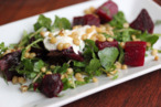 Deconstructed borscht beet salad.