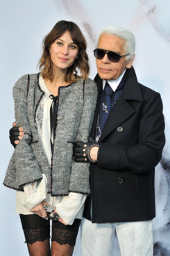 Alexa Chung and Karl Lagerfeld attend the Chanel Ready to Wear show Fall/Winter 2011