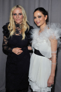 NEW YORK, NY - FEBRUARY 16:  Designers Keren Craig and Georgina Chapman attend the Marchesa Fall 2011 presentation
