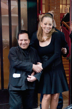 PARIS, FRANCE - APRIL 28:  Mariah Carey (R) and Azzedine Alaia