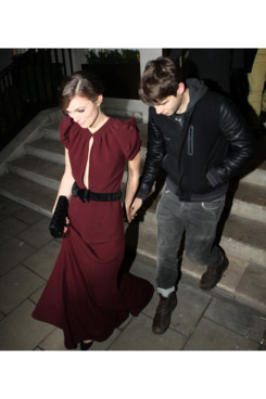 LONDON, UNITED KINGDOM - JANUARY 31: Keira Knightley and James Righton leaving 34 restaurant on January 31, 2012 in London, England. (Photo by Mark Milan/FilmMagic)