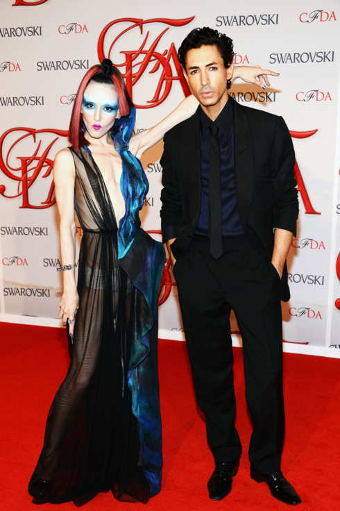 NEW YORK, NY - JUNE 04:  Michelle Harper and designer Christian Cota attend the 2012 CFDA Fashion Awards at Alice Tully Hall