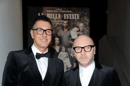 "Designer Stefano Gabbana and Domenico Dolce attend the Dolce & Gabbana ""La Bella Estate"" Cocktail Launch during Milan Fashion Week Menswear Autumn/Winter 2012 on January 14, 2012 in Milan, Italy."