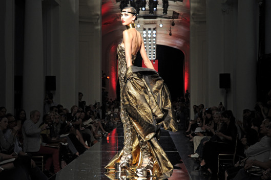 A model walks the runway at the Jean Paul Gaultier Autumn Winter 2012 fashion show during Paris Haute Couture Fashion Week on July 4, 2012 in Paris, France.