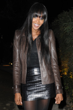 Naomi Campbell attends the Roberto Cavalli private dinner during Milan Womenswear Fashion Week at the Just Cavalli Cafe on February 27, 2012 in Milan, Italy.