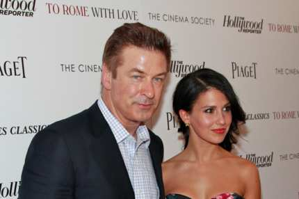 "Actor Alec Baldwin and Hilaria Thomas attend The Cinema Society with the Hollywood Reporter & Piaget and Disaronno screening of ""To Rome With Love"" at The Paris Theatre on June 20, 2012 in New York City."