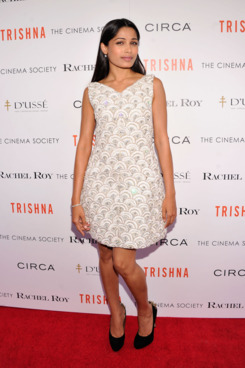 "Actress Freida Pinto  attends the Cinema Society with Rachel Roy & Circa screening Of ""Trishna"" after party at the IFC Center on July 10, 2012 in New York City."