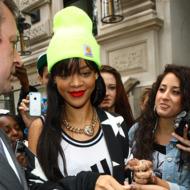 LONDON, UNITED KINGDOM - JUNE 23: Rihanna is sighted leaving the Corinthia Hotel on June 23, 2012 in London, England. (Photo by Neil Mockford/FilmMagic)
