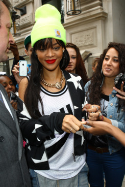 Rihanna is sighted leaving the Corinthia Hotel on June 23, 2012 in London, England.