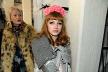 Fashion blogger Tavi Gevinson poses backstage at the Rodarte fall 2012 fashion show during Mercedes-Benz Fashion Week on February 14, 2012 in New York City.
