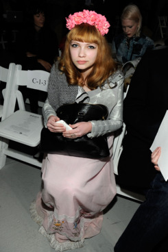 Fashion blogger Tavi Gevinson at the Rodarte fall 2012 fashion show during Mercedes-Benz Fashion Week on February 14, 2012 in New York City.