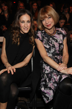 Actress Sarah Jessica Parker (L) and Editor-in-chief of American Vogue Anna Wintour attends the Alexander Wang Fall 2009 fashion show during Mercedes-Benz Fashion Week at Roseland Ballroom on February 14, 2009 in New York City.