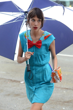 Alexa Chung walks with an umbrella to her trailer on the set of 'Gossip Girl' filming scenes at Capitale in the Lower East Side. Also seen trying to keep out of the rain were Leighton Meester, Yin Chang and Barry Watson