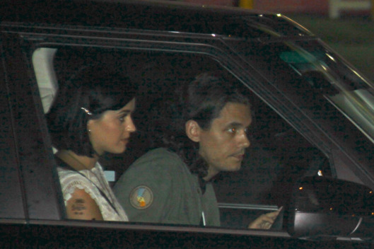 Singers Katy Perry and John Mayer seen leaving together from the Chateau Marmont hotel in Hollywood.