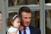 David Beckham and Harper Beckham seen at 202 Restaurant in Notting Hill on July 26, 2012 in London, England.