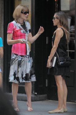 Sarah Jessica Parker and Anna Wintour seen leaving Balthazar restaurant after a lunch in SoHo, New York City, USA.