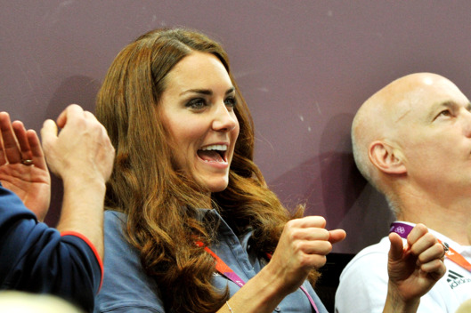 Catherine, Duchess of Cambridge jubilates during the Women's Handball Preliminaries Group A match between Great Britain and Croatia on Day 9 of the London 2012 Olympic Games at the Copper Box on August 5, 2012 in London, England.