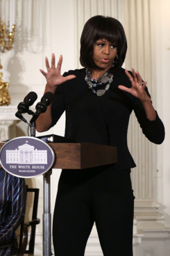 WASHINGTON, DC - FEBRUARY 13:  First lady Michelle Obama speaks during an interactive student workshop with the cast and crew of the film Beasts of the Southern Wild at the State Dining Room of the White House February 13, 2013 in Washington, DC. The first lady hosted middle and high school students from the DC area and New Orleans to participate in the event.  (Photo by Alex Wong/Getty Images)