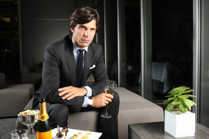Figueras shows off his loyalty to Veuve Clicquot at the Modern.