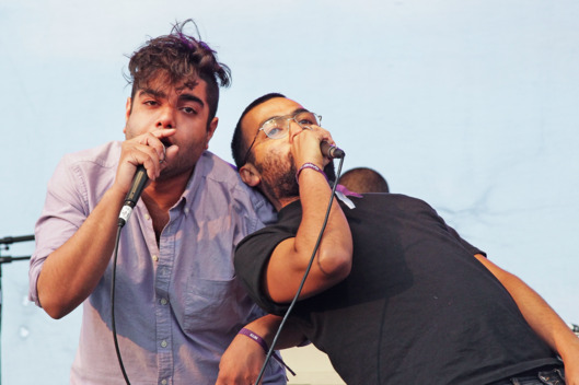 "GEORGE, WA - MAY 29:  Himanshu ""Heems"" Suri (L) and Victor ""Kool A.D."" Vazquez of Das Racist perform at Sasquatch! Music Festival 2011 Day 3 at the Gorge Amphitheater on May 29, 2011 in George, Washington.  (Photo by Noel Vasquez/Getty Images)"