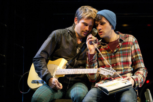 "In this theater publicity image released by Richard Kornberg & Associates, Matt Shingledecker, left, and Adam Chanler-Berat of the Broadway production of ""Rent,"" are shown in New York. (AP Photo/Richard Kornberg & Associates, Joan Marcus)"