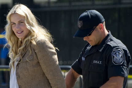 A Police officer arrests American actress Daryl Hannah during a protest against the construction of the Keystone XL pipeline, outside the White House in Washington, DC, August 30, 2011. Hannah was among dozens of protestors arrested in a demonstration against the oil pipeline which, if constructed, would run from Alberta's oilsands in Canada to Texas. AFP PHOTO / Saul LOEB (Photo credit should read SAUL LOEB/AFP/Getty Images)