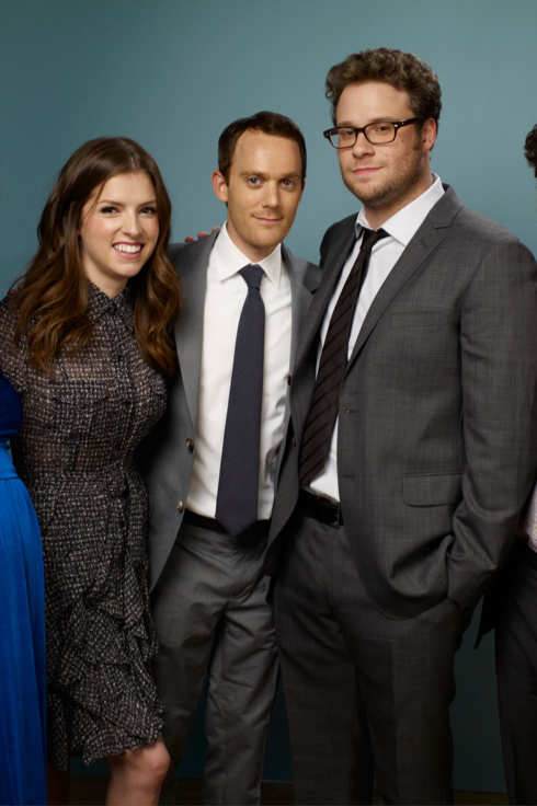"TORONTO, ON - SEPTEMBER 12:  Actress Bryce Dallas Howard, actress Anna Kendrick, screenwriter Will Reiser, actor Seth Rogan and director Jonathan Levine of ""50/50"" pose during the 2011 Toronto Film Festival at Guess Portrait Studio on September 12, 2011 in Toronto, Canada.  (Photo by Matt Carr/Getty Images)"