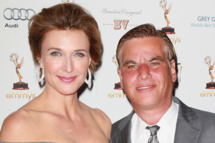 WEST HOLLYWOOD, CA - SEPTEMBER 16:  Actress Brenda Strong (L) and writer Aaron Sorkin attend the Academy of Television Arts & Sciences' 63rd Primetime Emmy Awards performers nominee reception at Spectra on September 16, 2011 in West Hollywood, California.  (Photo by David Livingston/Getty Images)