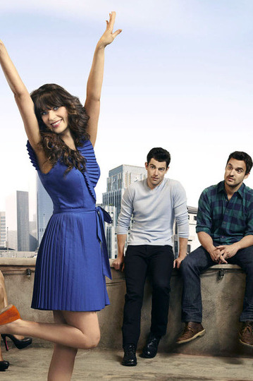 "NEW GIRL:  The new comedy starring Zooey Deschanel (""(500) Days of Summer"") as an adorkable girl who moves in with three single guys, changing their lives in unexpected ways premieres Tuesday, Sept. 20 (9:00-9:30 PM ET/PT) on FOX.   (Pictured L-R:  Hannah Simone, Zooey Deschanel, Max Greenfield, Jake Johnson and Lamorne Morris). ©2011 Fox Broadcasting Co. Cr: Autumn Dewilde/FOX"