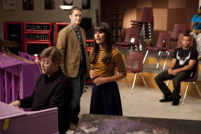 "GLEE: Rachel (Lea Michele) performs in the choir room for Mr. Schuester (Matthew Morrison) in ""The Purple Piano Project"", the Season Three premiere episode of GLEE airing Tuesday, Sept. 20 (8:00-9:00 PM ET/PT) on FOX. ©2011 Fox Broadcasting Co. Cr: Adam Rose/FOX"