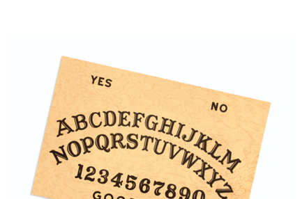 Image of a Ouija board - this is the original and vintage text arrangement of letters, numbers, and words.
