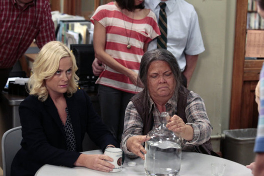 "PARKS AND RECREATION -- ""Ron & Tammys"" Episode 402 -- Pictured: (l-r) Amy Poehler as Leslie Knope, Paula Pell as Tammy 0 -- Photo by: Chris  Haston/NBC"