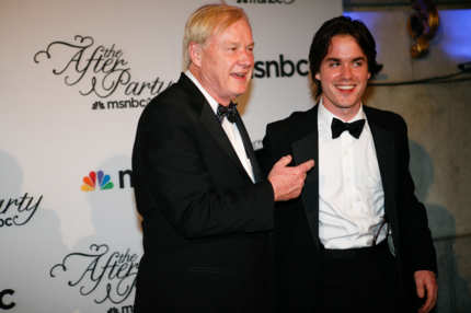 WASHINGTON - MAY 01: Chris Matthews and his son Thomas Matthews (R) arrive at the MSNBC Afterparty following the White House Correspondents' Association dinner on May 1, 2010 in Washington, DC. The annual dinner featured comedian Jay Leno and was attended by President Barack Obama and First Lady Michelle Obama. (Photo by Brendan Hoffman/Getty Images) *** Local Caption *** Chris Matthews;Thomas Matthews