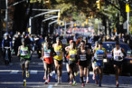 Elite men runners compete in the New York City Marathon in New York on November 7, 2010. Ethiopian Gebre Gebremariam won in a time of 2:08.14 ahead of Kenyans Emmanuel Mutai and Moses Kigen Kipkosgei. World record holder Haile Gebrselassie (C) announced his retirement after dropping out of the race.         AFP PHOTO/Emmanuel Dunand (Photo credit should read EMMANUEL DUNAND/AFP/Getty Images)