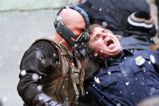 Christian Bale and Tom Hardy on the set of 'Batman:The Dark Knight Rises' in NYC. <P> Pictured: Tom Hardy <P> <B>Ref: SPL332621  051111  </B><BR/> Picture by: Richie Buxo / Splash News<BR/> </P><P> <B>Splash News and Pictures</B><BR/> Los Angeles:	310-821-2666<BR/> New York:	212-619-2666<BR/> London:	870-934-2666<BR/> photodesk@splashnews.com<BR/> </P>