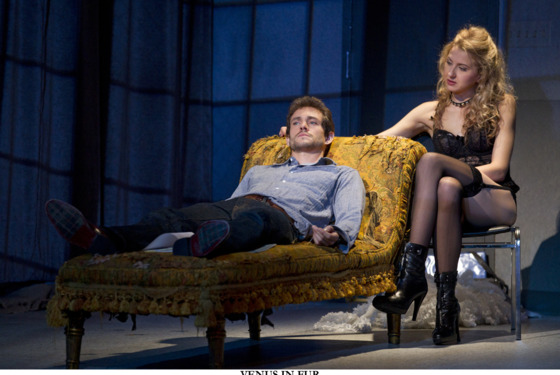 VENUS IN FUR by David Ives, directed by Walter Bobbie At MTC's Samuel J. Friedman Theatre (261 West 47th Street) Pictured (L to R): Nina Arianda as 'Vanda' and Hugh Dancy as 'Thomas. © 2011, Joan Marcus   Cast List: Nina Arianda Hugh Dancy  Production Credits: Walter Bobbie (Direction) John Lee Beatty (Scenic Design) Anita Yavich (Costume Design) Peter Kaczorowski (Lighting Design) Acme Sound Partners (Sound Design)  Other Credits: Written by: David Ives
