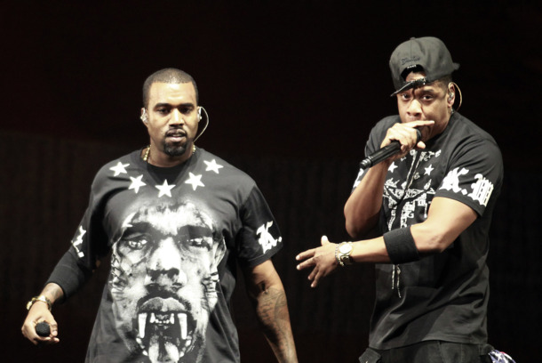 Kanye West, left, and Jay Z perform in concert during the &quot;Watch The Throne&quot; tour, Sunday, Nov. 6, 2011, in East Rutherford, N.J. (AP Photo/Julio Cortez)