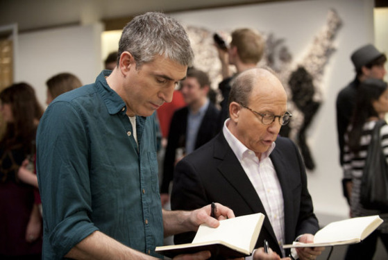 "WORK OF ART: THE NEXT GREAT ARTIST -- Episode 205 ""Ripped from the Headlines"" -- Pictured: (l-r) Adam McEwan, Jerry Saltz -- Photo by: David Giesbrecht /Br"