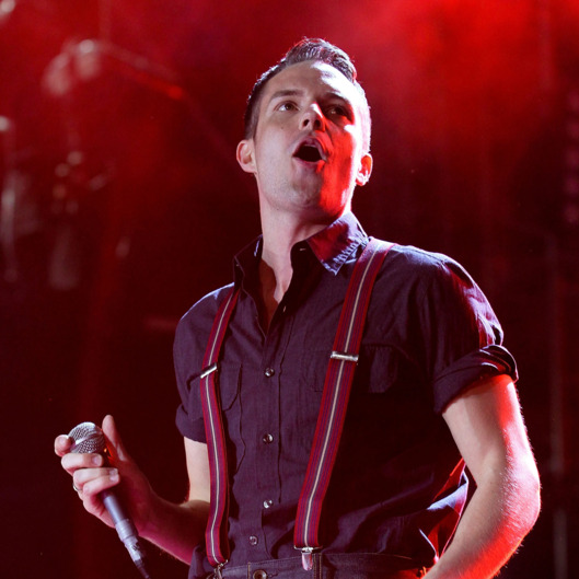 Singer Brandon Flowers peforms during Los 40 Principales concert at Estadio Azteca on April 12, 2011 in Mexico City, Mexico.