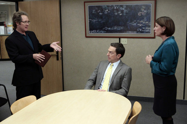 "THE OFFICE -- ""Mrs. California"" Episode 809 -- Pictured: (l-r) James Spader as Robert California, Ed Helms as Andy Bernard, Maura Tierney as Susan California."