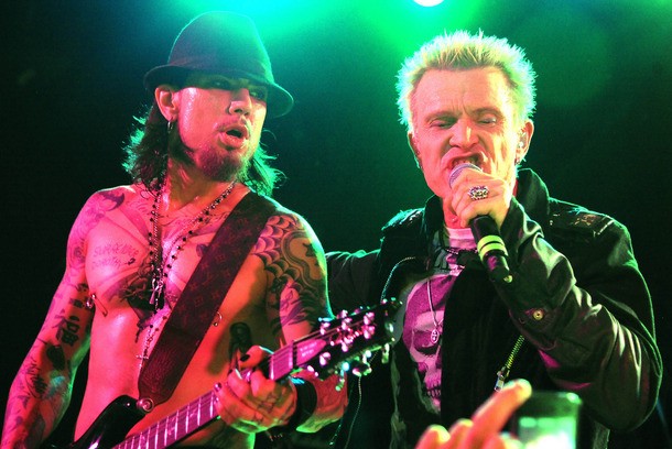 WEST HOLLYWOOD, CA - DECEMBER 02: Dave Navarro and Billy Idol of Camp Freddy performs at The Roxy Theatre on December 2, 2011 in West Hollywood, California. (Photo by Jeff Kravitz/FilmMagic)