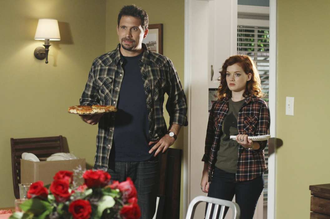 "SUBURGATORY - ""Don't Call Me Shirley"" - Tessa is excited to see some action in the suburbs when Sheila Shay's Shirley Temple doll collection is stolen, but not so thrilled at the consequences -- Dallas and Dalia are afraid of being burglarized so they crash at the Altmans' -- on ""Suburgatory,"" WEDNESDAY, OCTOBER 19 (8:30-9:00 p.m., ET) on the ABC Television Network. (ABC/MICHAEL ANSELL) JEREMY SISTO, JANE LEVY"